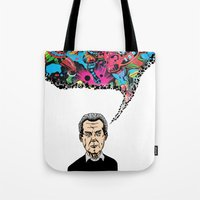 kirby Tote Bags featuring Jack Kirby by Miguel Villasanta