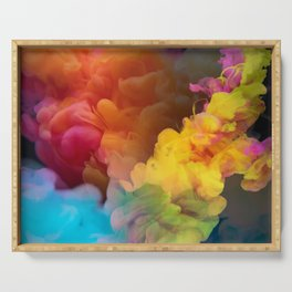 Colorful Smoke Abstract Serving Tray