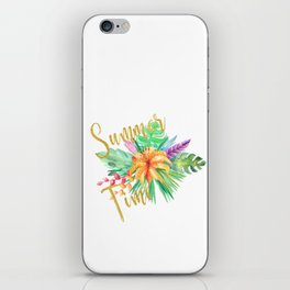 Tropical leaves and flowers summer time gold brush script iPhone Skin