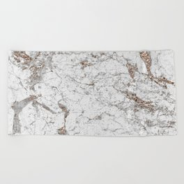 White frost - rose gold marble Beach Towel
