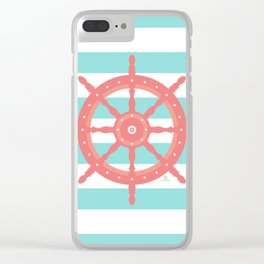 AFE Nautical Wheel  Coral & Seafoam Clear iPhone Case