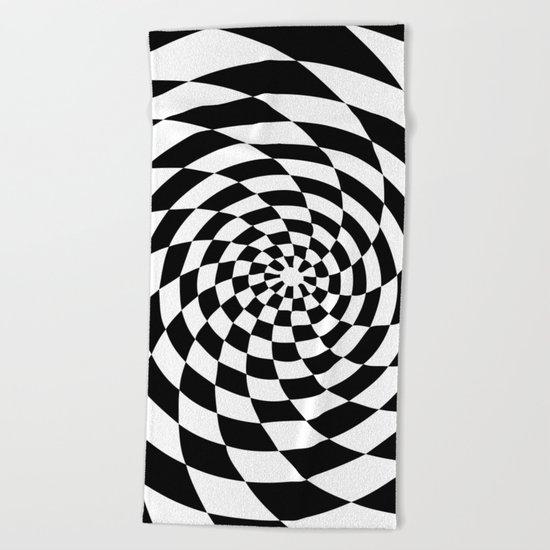 Optical Illusion Op Art Black and White Retro Style Beach Towel