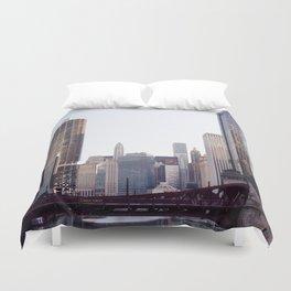 Chicago River Skyline Duvet Cover