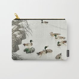 Ducks swimming in the lake - Japanese vintage woodblock print Carry-All Pouch