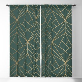 Olive Gold Geometric Pattern With White Shimmer Blackout Curtain
