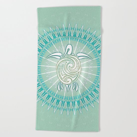 Turquoise Green Turtle And Mandala Beach Towel
