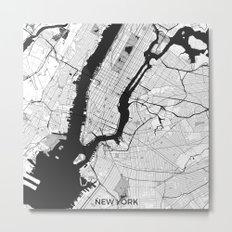 New York Map Gray Metal Print