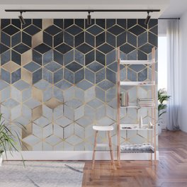 Soft Blue Gradient Cubes Wall Mural