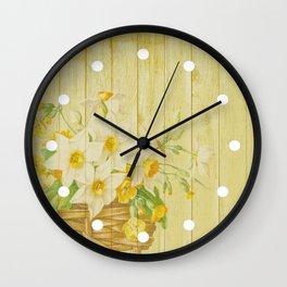 Daffodil Flowers in Basket on Wood Background Wall Clock