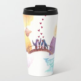 Penguins Connect on the Bridge Between Their Homes Travel Mug