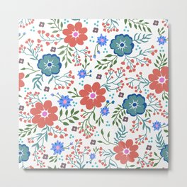 Pretty flowers and flourishes Metal Print