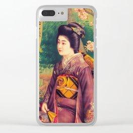 Vintage Japanese Sake Advertisement Clear iPhone Case