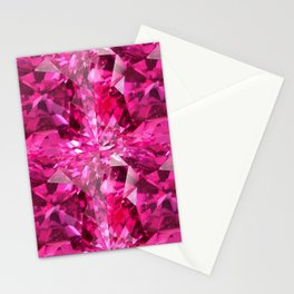 PINK SAPPHIRE OCTOBER  BIRTHSTONE GEMS IN PINK Stationery Cards