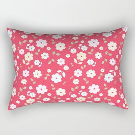 Small Flowers on Red Rectangular Pillow