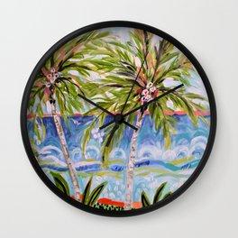 Palm Trees by Karen Fields Wall Clock
