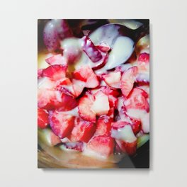 Strawberries and Sweet Condensed Milk Metal Print