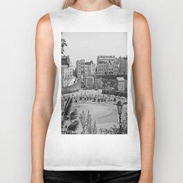Tenby Harbour. Black+White. Reflection. Biker Tank