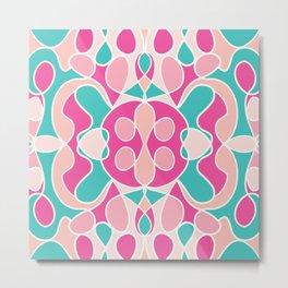 Girly Modern Pink Coral Teal Abstract Geometric Metal Print