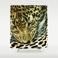 leopard Shower Curtains featuring Leopard by BellaVitaArt