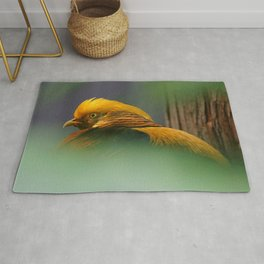 Emerging from the Green: Golden-Red Pheasant Rug