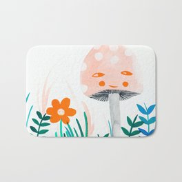 pink mushroom with floral elements Bath Mat
