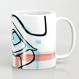 Abstract Open Eye Red and Blue Line Drawing Coffee Mug