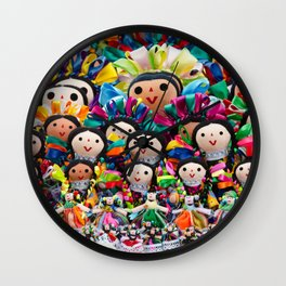 Traditional Mexican dolls Wall Clock
