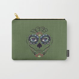 Green sugar skull make up Carry-All Pouch