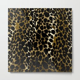 Animal Print Pattern Black and Brown Metal Print