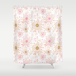 Retro . Abstract pattern Dandelions . Shower Curtain