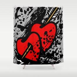 Hearts pierced with an arrow Shower Curtain