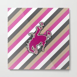Cowgirl Bucking Horse Western Rodeo Design Metal Print