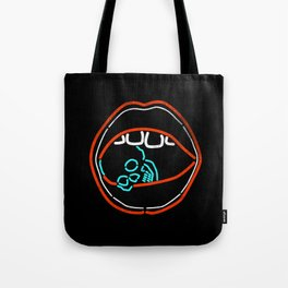 Love Crush - Mouth Lips Neon Skull Tote Bag