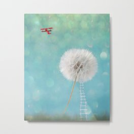 Wish Harvest Red airplane silver ladder fly travel escape wander Metal Print