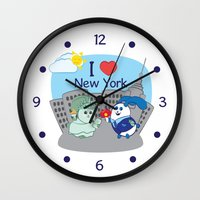 coraline Wall Clocks featuring Ernest and Coraline | I love New York by Hisame Artwork