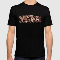 Watercolor Mushrooms LARGE Black Mens Fitted Tee