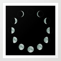 moon phases Art Prints featuring Moon phases by ShaMiLa