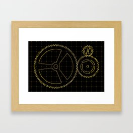 Set of orange gears and cogs on virtual screen Framed Art Print