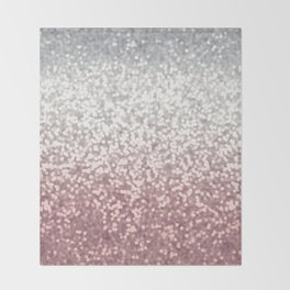 BLUSH ADN SILVER GLITTER OMBRE Throw Blanket