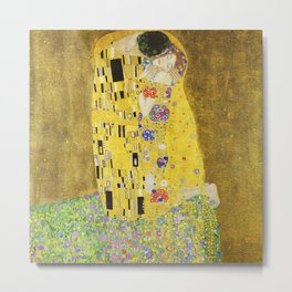 Gustav Klimt  - The Kiss -  Art Nouveau Metal Print