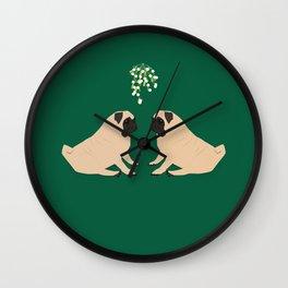 Pug Mistletoe Wall Clock
