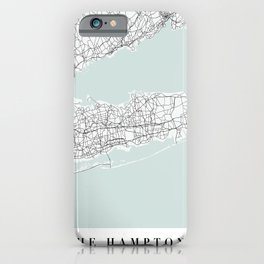 The Hamptons New York Blue Water Street Map iPhone Case