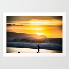 Sunset walk in Hawaii Art Print