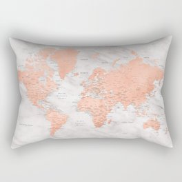 "Rose gold and marble world map with cities, ""Janine"" Rectangular Pillow"