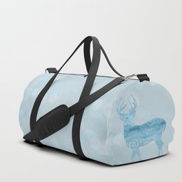 Aqua Blue Christmas Deer Duffle Bag