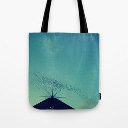 flock of birds at dusk  Tote Bag
