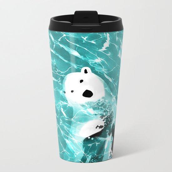 Playful Polar Bear In Turquoise Water Design Metal Travel Mug