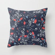 Floral Blue Throw Pillow
