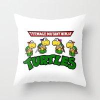 teenage mutant ninja turtles Throw Pillows featuring Teenage Mutant Ninja Turtles Mario by tshirtsz