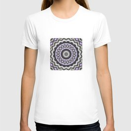 Ultra Violet Silver and Lilac Abstract Geo Pattern T-shirt